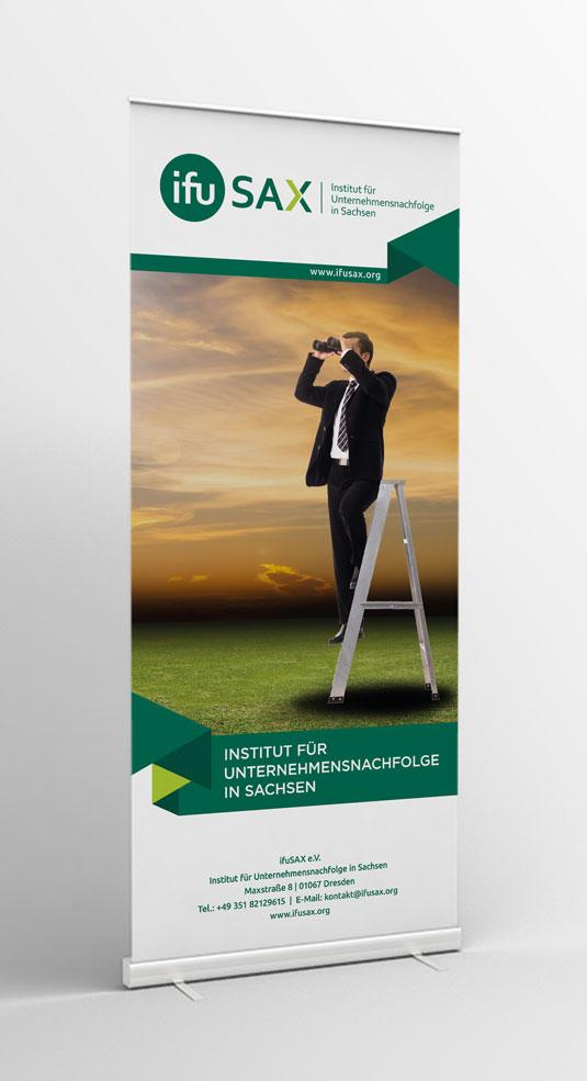 Institut für Unternehmensnachfolge in Sachsen - ifuSAX e.V. Roll-Up Banner